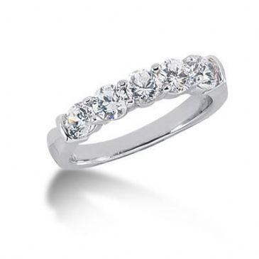 18K Gold Diamond Anniversary Wedding Ring 5 Round Brilliant Diamonds 1.25ctw 199WR64618K