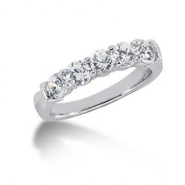 950 Platinum Diamond Anniversary Wedding Ring 5 Round Brilliant Diamonds 1.25ctw 199WR646PLT
