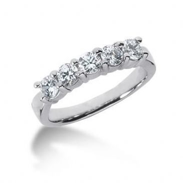 950 Platinum Diamond Anniversary Wedding Ring 5 Round Brilliant Diamonds 0.75ctw 200WR568PLT