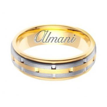 18k Gold 6.5mm Handmade Two Tone Wedding Ring 124 Almani