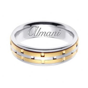 950 Platinum & 18k Gold 6.5mm Handmade Two Tone Wedding Ring 125 Almani