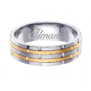 14k Gold 6.5mm Handmade Two Tone Wedding Ring 127 Almani