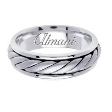 18k Gold 6.5mm Handmade Wedding Ring 128 Almani