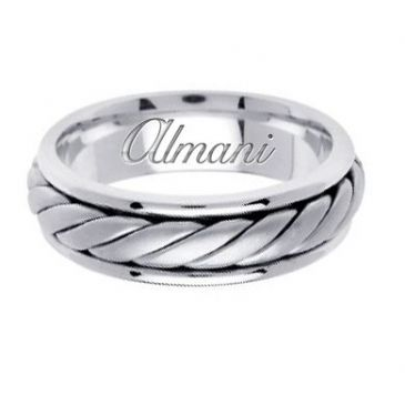 950 Platinum 6.5mm Handmade Wedding Ring 128 Almani