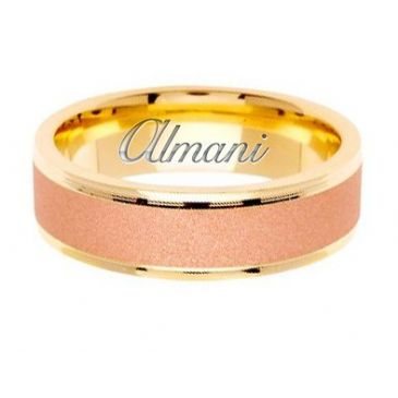 18k Gold 6.5mm Handmade Two Tone Wedding Ring 129 Almani