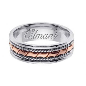 14k Gold 6mm Handmade Two Tone Wedding Ring 130 Almani