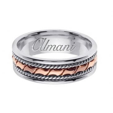 950 Platinum & 18k Gold 6mm Handmade Two Tone Wedding Ring 130 Almani