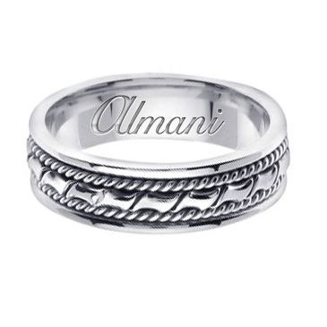 950 Platinum 6mm Handmade Wedding Ring 131 Almani