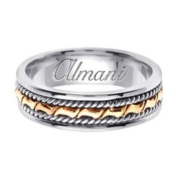 14k Gold 6mm Handmade Two Tone Wedding Ring 132 Almani