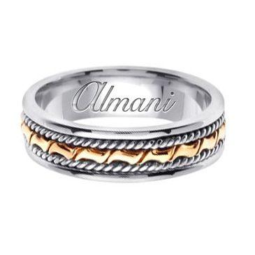 14k Gold 6mm Handmade Two Tone Wedding Ring 132 Almani