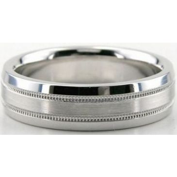 Platinum 950 6mm Diamond Cut Wedding Band 678