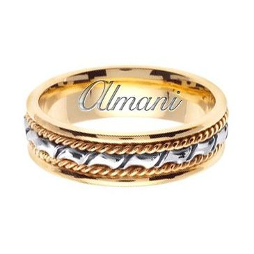 14k Gold 6mm Handmade Two Tone Wedding Ring 133 Almani