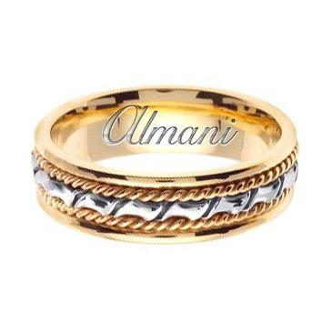18k Gold 6mm Handmade Two Tone Wedding Ring 133 Almani