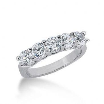 950 Platinum Diamond Anniversary Wedding Ring 5 Round Brilliant Diamonds 1.50ctw 205WR2193PLT