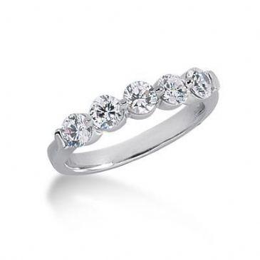 18K Gold Diamond Anniversary Wedding Ring 5 Round Brilliant Diamonds 1.00ctw 207WR223318K