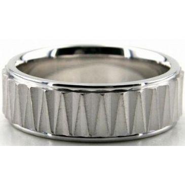 Platinum 950 7mm Diamond Cut Wedding Band 689