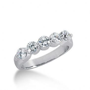 18K Gold Diamond Anniversary Wedding Ring 5 Round Brilliant Diamonds 1.25ctw 209WR225918K