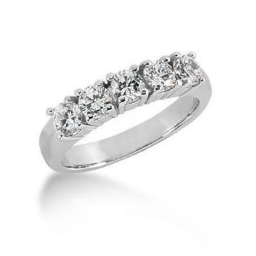 950 Platinum Diamond Anniversary Wedding Ring 5 Round Brilliant Diamonds, Prong Setting 1.00ctw 210WR1475PLAT