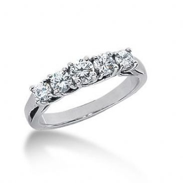 18K Gold Diamond Anniversary Wedding Ring 5 Round Brilliant Diamonds 0.70ctw 211WR55218K