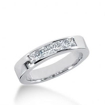 18K Gold Diamond Anniversary Wedding Ring 5 Princess Cut Diamonds 0.70ctw 214WR100018K