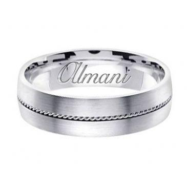 950 Platinum 6mm Handmade Wedding Ring 134 Almani