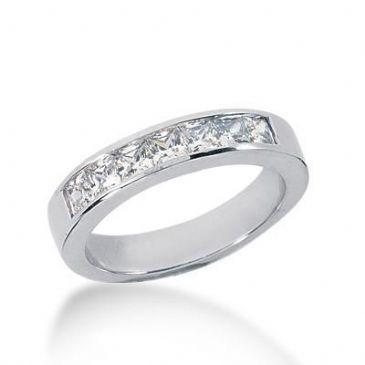 18K Gold Diamond Anniversary Wedding Ring 7 Princess Cut Diamonds 0.98ctw 215WR100118K