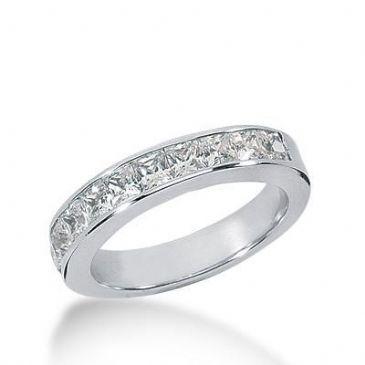 18K Gold Diamond Anniversary Wedding Ring 9 Princess Cut Diamonds 0.90ctw 216WR100218K