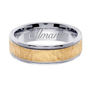 18k Gold 6mm Handmade Two Tone Wedding Ring 135 Almani