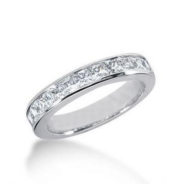 18K Gold Diamond Anniversary Wedding Ring 11 Princess Cut Diamonds 1.10ctw 217WR100318K