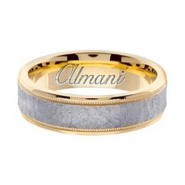 18k Gold 6mm Handmade Two Tone Wedding Ring 136 Almani