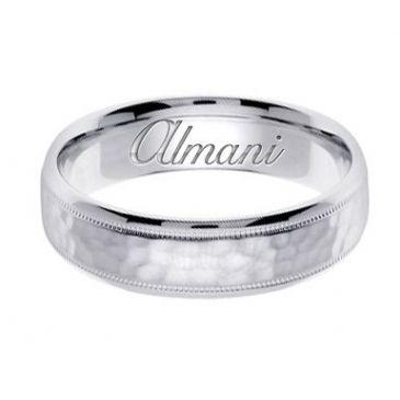950 Platinum 6mm Handmade Wedding Ring 137 Almani