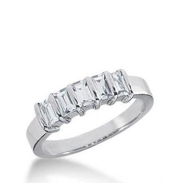 950 Platinum Diamond Anniversary Wedding Ring 5 Straight Baguette Diamonds 0.75ctw 218WR1008PLT