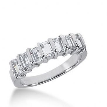 950 Platinum Diamond Anniversary Wedding Ring 7 Straight Baguette Diamonds 1.19ctw 219WR1009PLT