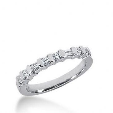 18K Gold Diamond Anniversary Wedding Ring 6 Round Brilliant, 2 Straight Baguette Diamonds 0.26ctw 220WR102318K