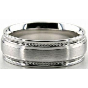 Platinum 950 7mm Diamond Cut Wedding Band 647