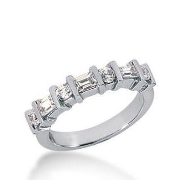 18K Gold Diamond Anniversary Wedding Ring 4 Round Brilliant, 3 Straight Baguette Diamonds 0.65ctw 221WR102418K
