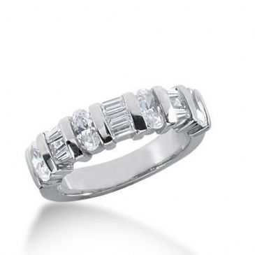 950 Platinum Diamond Anniversary Wedding Ring 4 Oval Shaped, 3 Straight Baguette, 6 Tapered Baguette Diamonds 1.45ctw 222WR1025PLT