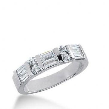 950 Platinum Diamond Anniversary Wedding Ring 4 Round Brilliant, 6 Straight Baguette Diamonds 0.92ctw 223WR1026PLT