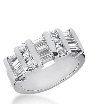 18K Gold Diamond Anniversary Wedding Ring 6 Round Brilliant, 9 Straight Baguette Diamonds 1.23ctw 224WR102718K