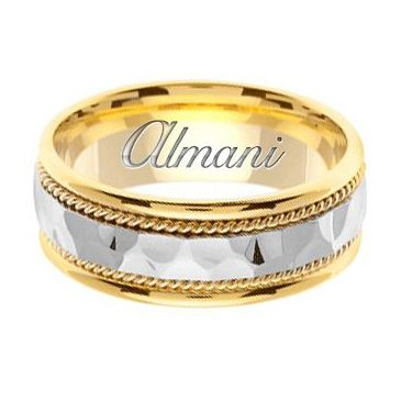 18k Gold 7.5mm Handmade Two Tone Wedding Ring 142 Almani
