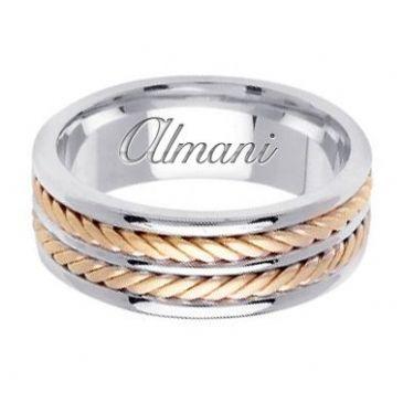 18k Gold 7.5mm Handmade Two Tone Wedding Ring 143 Almani