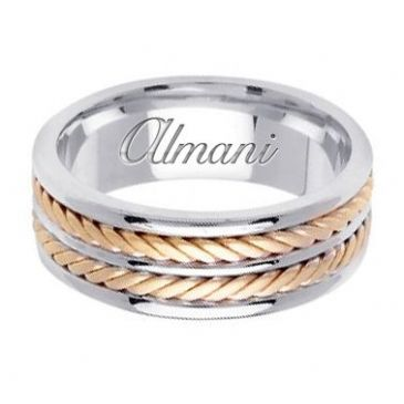 950 Platinum & 18k Gold 7.5mm Handmade Two Tone Wedding Ring 143 Almani