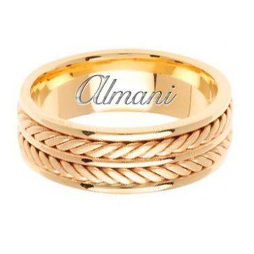 18k Gold 7.5mm Handmade Wedding Ring 144 Almani