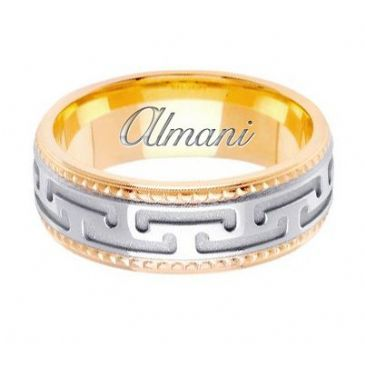 14k Gold 7.5mm Handmade Two Tone Wedding Ring 145 Almani