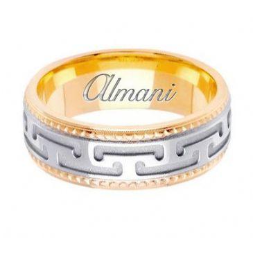 18k Gold 7.5mm Handmade Two Tone Wedding Ring 145 Almani