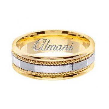 18k Gold 7mm Handmade Two Tone Wedding Ring 146 Almani