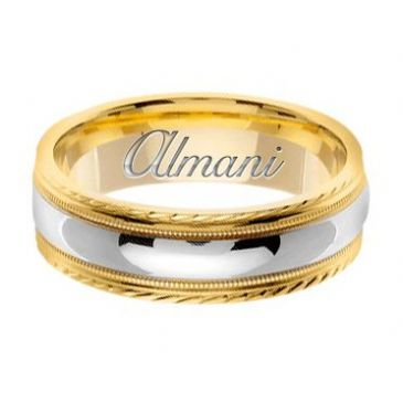 14k Gold 7mm Handmade Two Tone Wedding Ring 149 Almani
