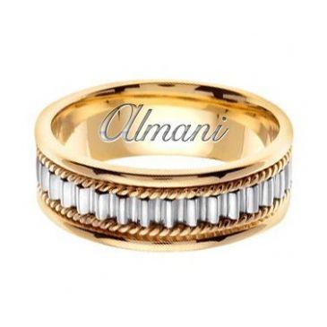 18k Gold 7mm Handmade Two Tone Wedding Ring 150 Almani