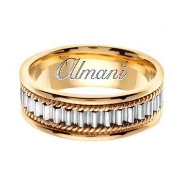 950 Platinum & 18k Gold 7mm Handmade Two Tone Wedding Ring 150 Almani