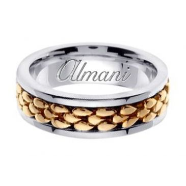 18k Gold 7mm Handmade Two Tone Wedding Ring 152 Almani